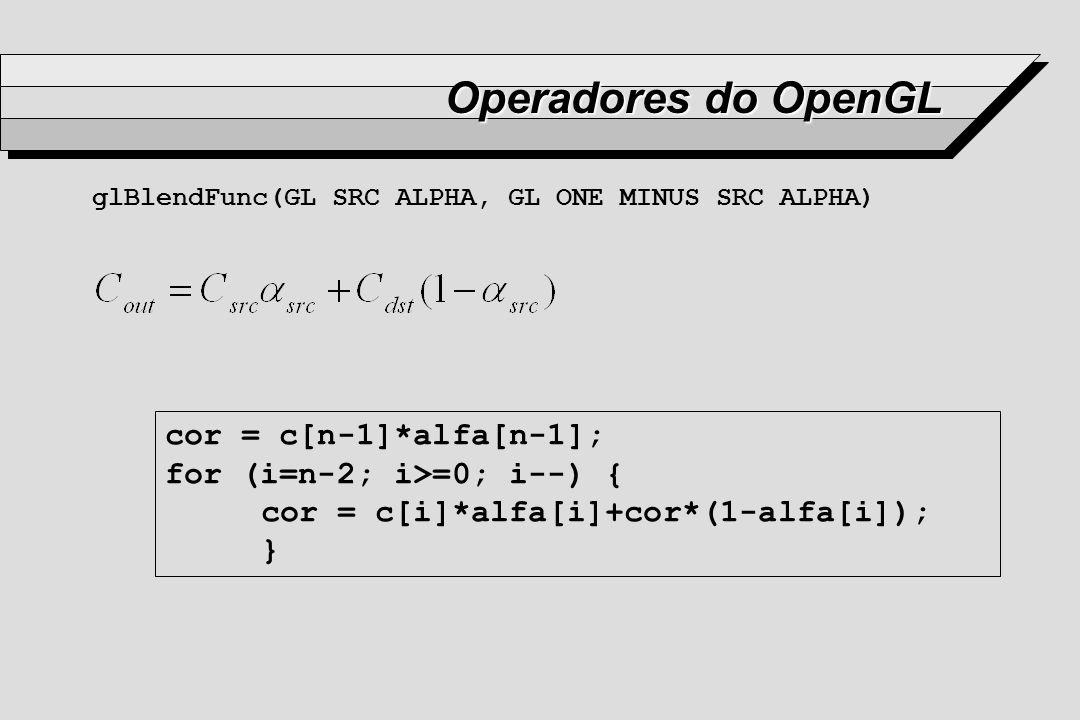 Operadores do OpenGL cor = c[n-1]*alfa[n-1];